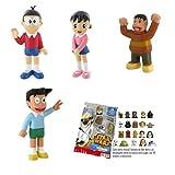 Lote 4 Figuras Comansi Doraemon: Nobita - Shizuka - Suneo - Gigante + Regalo