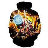 ZXRYF Naruto Cosplay Sudadera con Capucha Impresa Digitalmente En 3D Suéter De Anime Japonés Hokage 4Th / 6Th, Unisex, Adecuado para Fiesta De Cosplay, Fiesta De Disfraces, Fiesta Temática,Negro,M