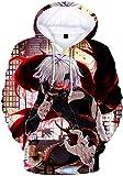 PANOZON Hombre Sudadera Tokyo Ghoul Hoodies Impresión 3D de Personajes Anime Chaqueta Deportiva con Capucha (L, Rojo 83)